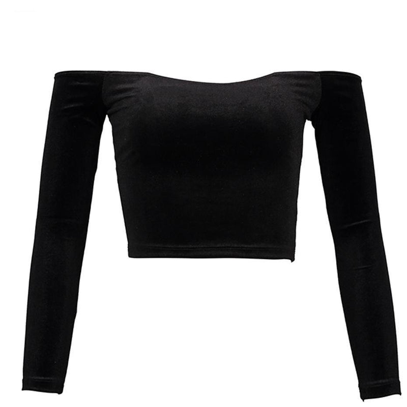 Dark Long Sleeved Slim Crop Top For Women - The Black Ravens