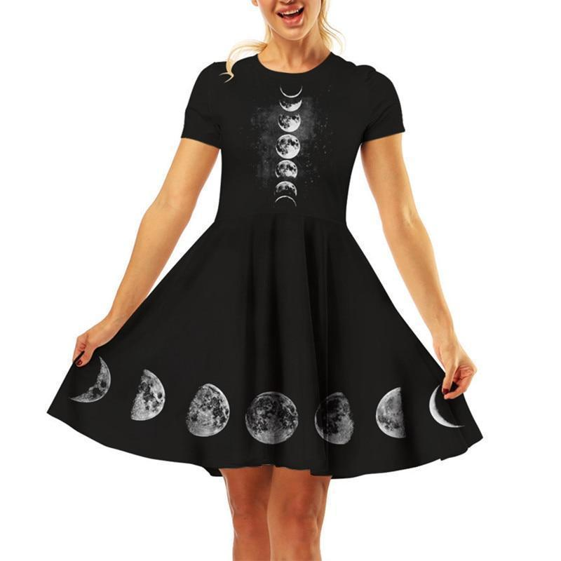 Dark Moon Phase Gothic Dress-S-