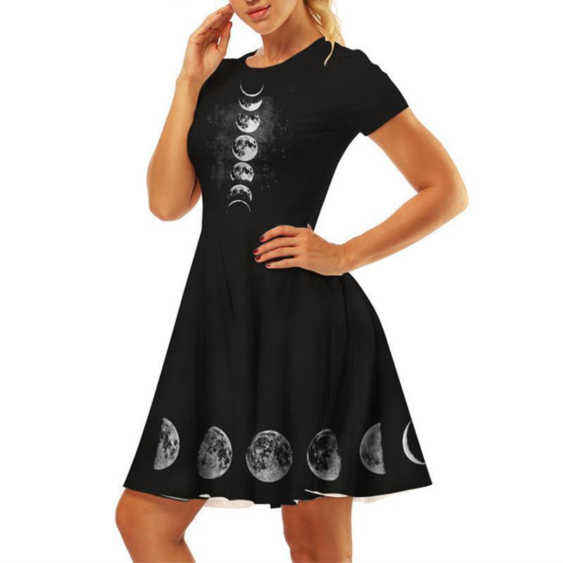 Dark Moon Phase Gothic Dress - The Black Ravens