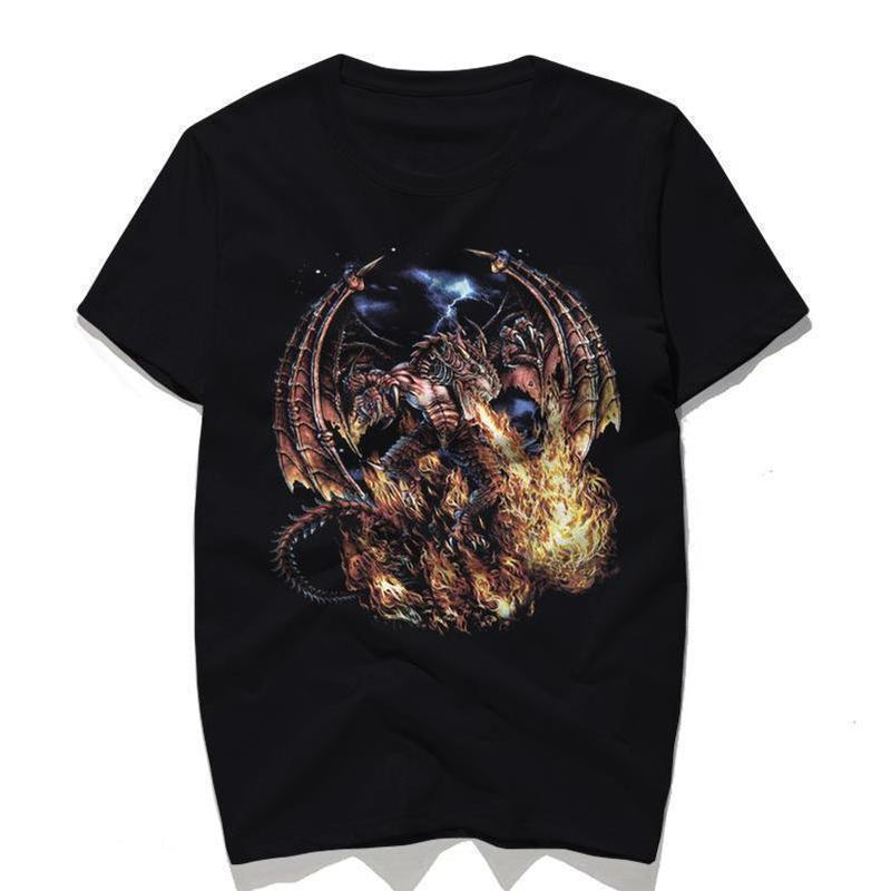 Dark Powerful Fire Dragon Top For Men-Black-S-