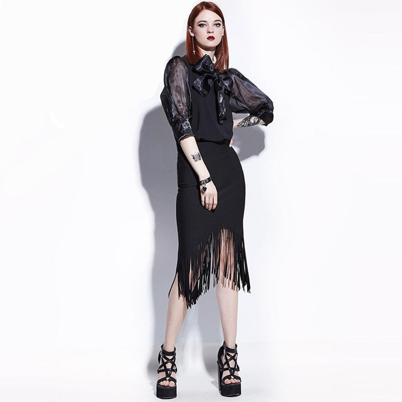 Dark Tassel Patchwork Asymmetrical Skirt - The Black Ravens