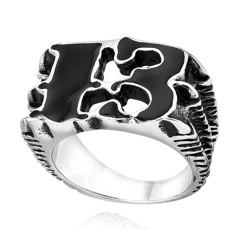 Dark Unlucky 13 Silver Rings - The Black Ravens