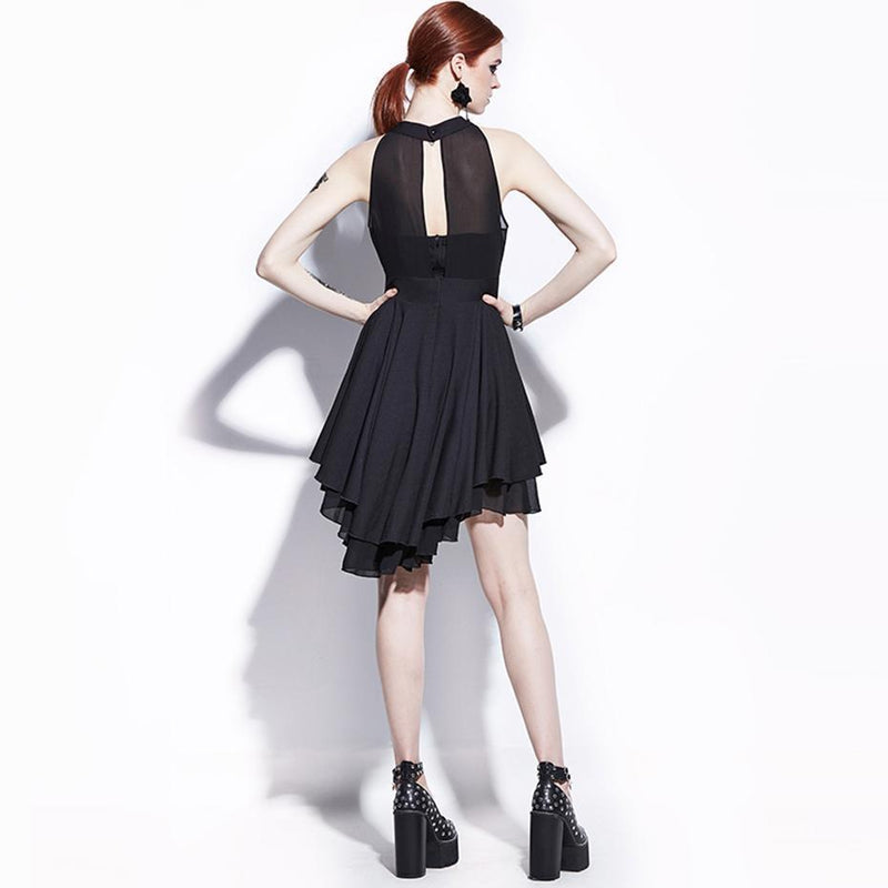 Edgy A-Line Gothic Dress-Black-S-