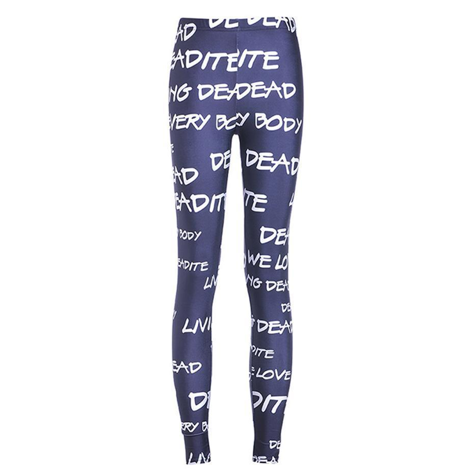 Elastic Letter Print Living Dead Leggings For Women-Blue-S-