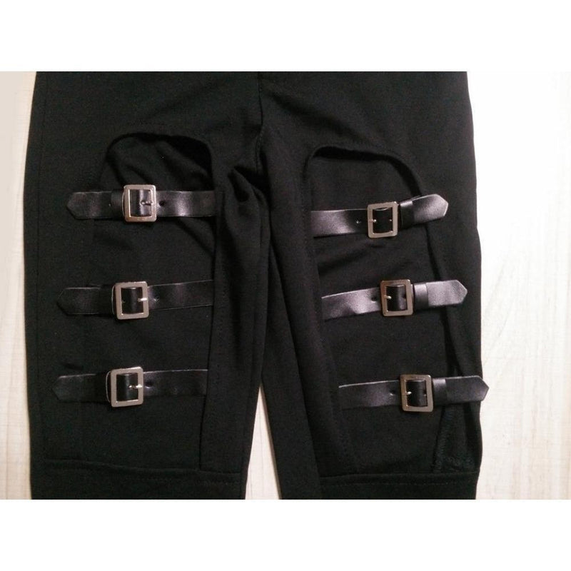 Elastic Punk Faux Leather Buckle Pants - The Black Ravens