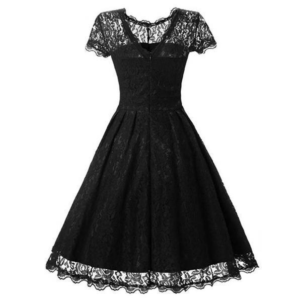 Elegant Black Lace Vintage Dress-S-