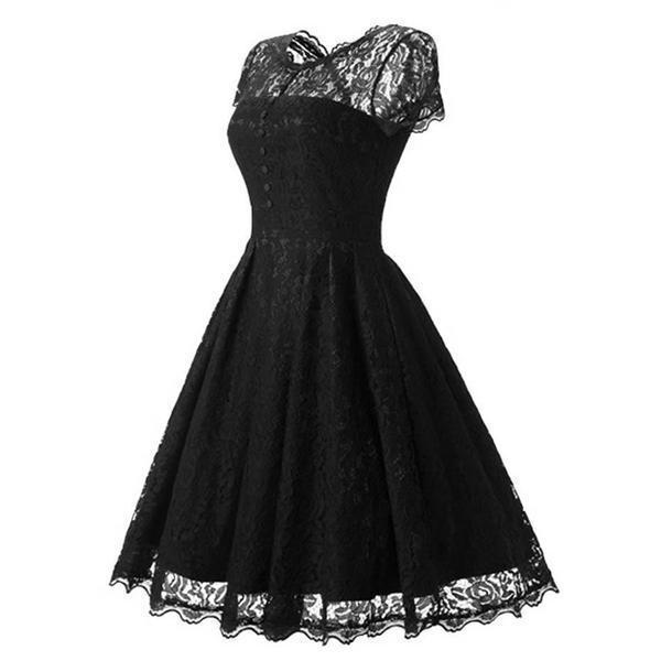 Elegant Black Lace Vintage Dress - The Black Ravens