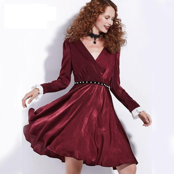 Elegant Dark Red Retro Dress - The Black Ravens