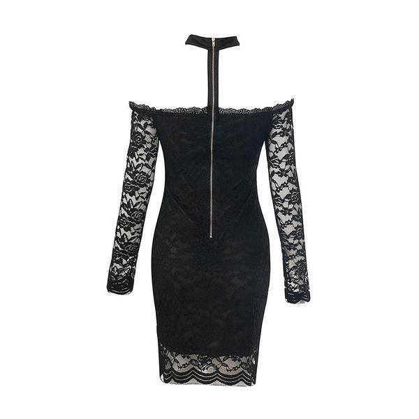 Elegant Gothic Off-Shoulders Bodycon-Black-S-