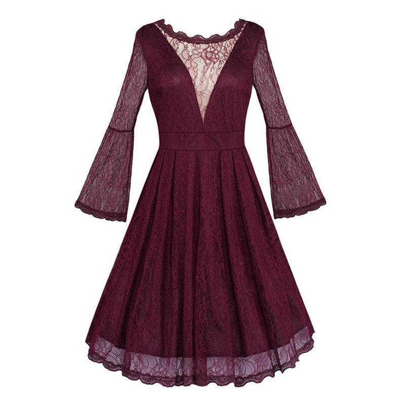 Elegant Retro Style Burgundy Dress - The Black Ravens