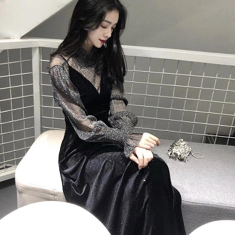 Elegant Silhouette Sleeves Stunning Long Dress - The Black Ravens