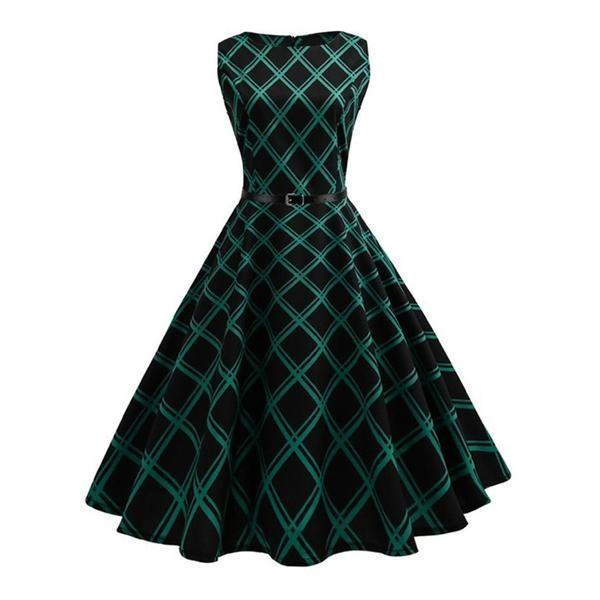 Elegant Vintage Green Plaid Dress - The Black Ravens