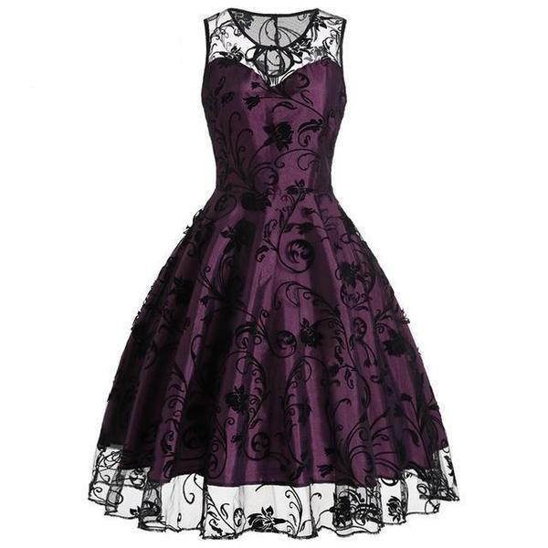 Elegant Vintage Party Lace Frock-Red-S-