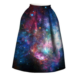 Elegany Starry Sky Casual Skirt-Blue-S-