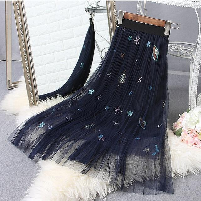 Embroidered Pleated Mesh Ladies Long Skirt-Blue Skirt-