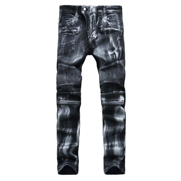 Emo Black Vintage Washed Jeans-Black-28-
