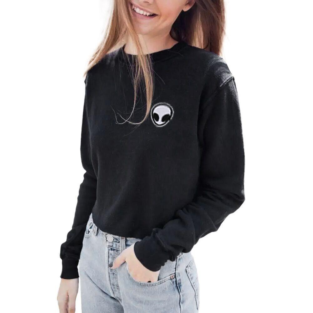 Extraterrestrial Soft Grey And Black Women's Hoodie & Jumper-Black-L-