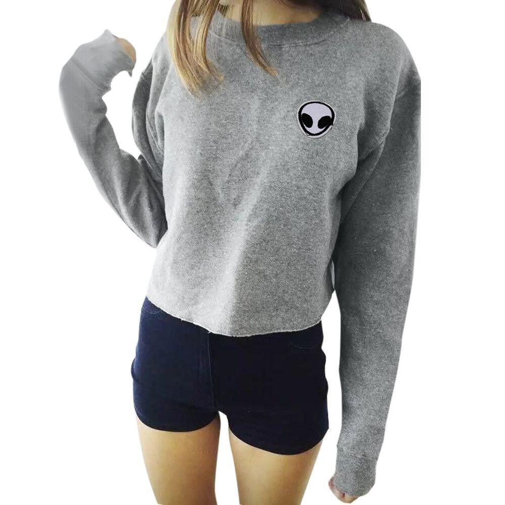 Extraterrestrial Soft Grey And Black Women's Hoodie & Jumper-Gray-L-