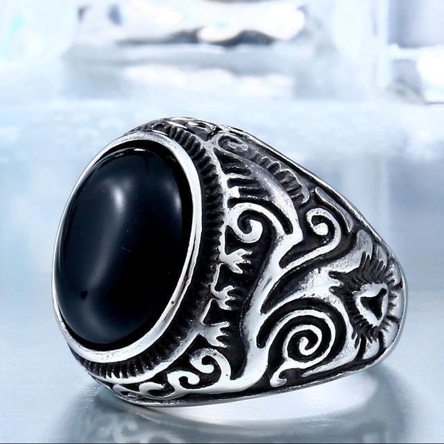 Eye-Catching Girls Punk Gemstone Silver Rings-7-Black Color-Us Size