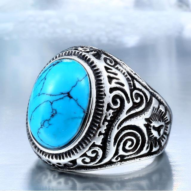 Eye-Catching Girls Punk Gemstone Silver Rings-7-Blue Color-Us Size