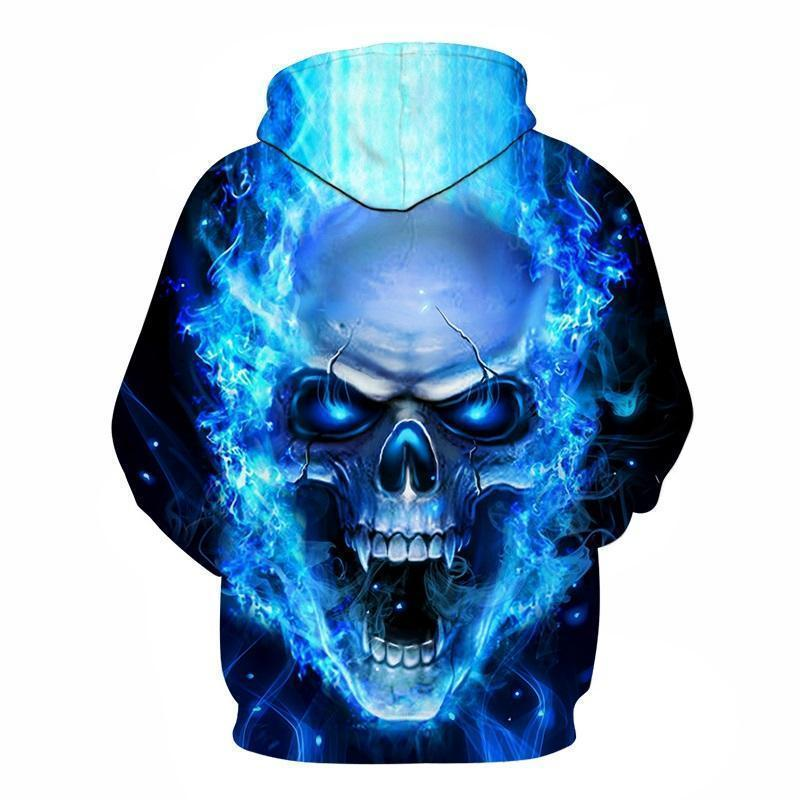 Flaming Blue Vampire Skull Hoodie - The Black Ravens