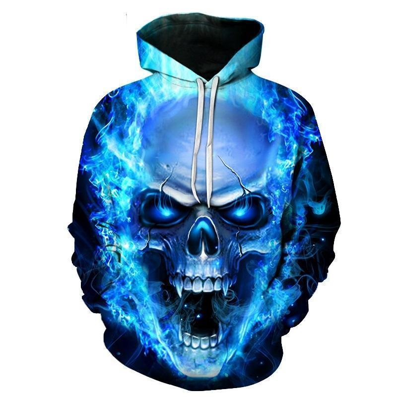Flaming Blue Vampire Skull Hoodie-Blue-XS-