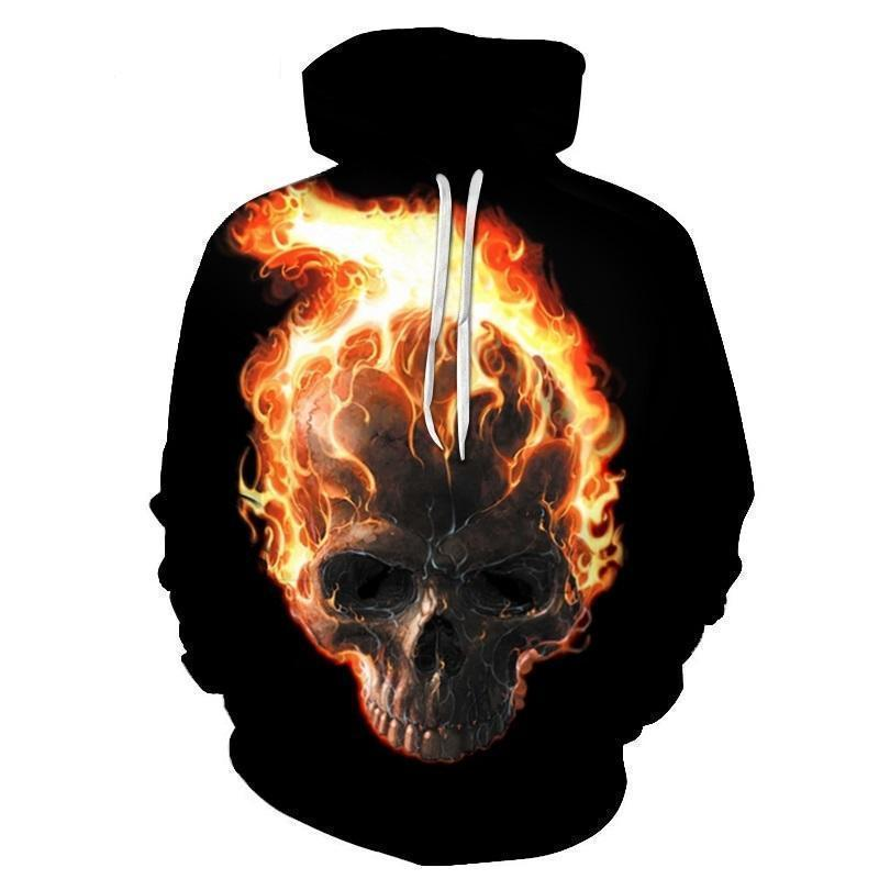 Flaming Ghost Rider Inspired Hoodie-Black-XXS-