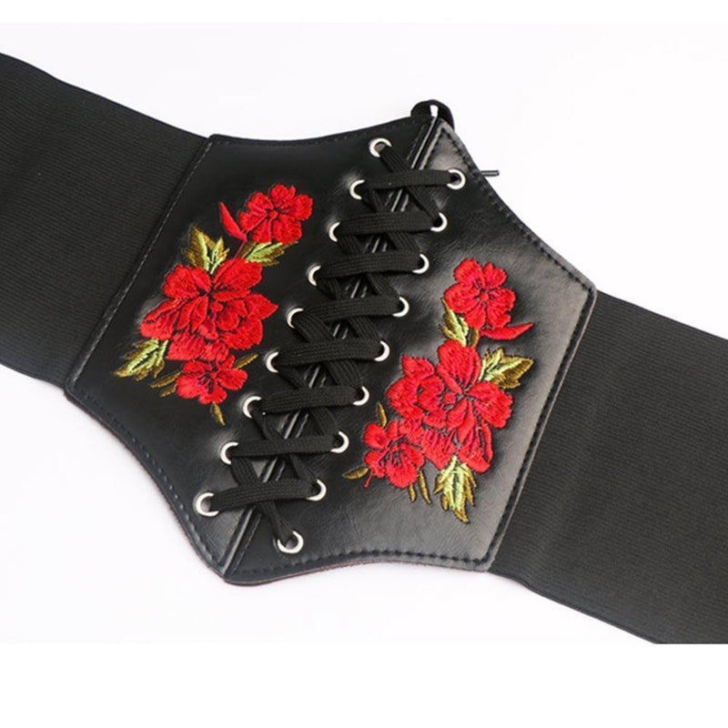 Floral Embroidered Gothic Waist Band - The Black Ravens