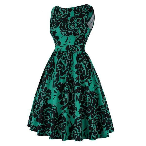 Floral Green Vintage Casual Dress - The Black Ravens
