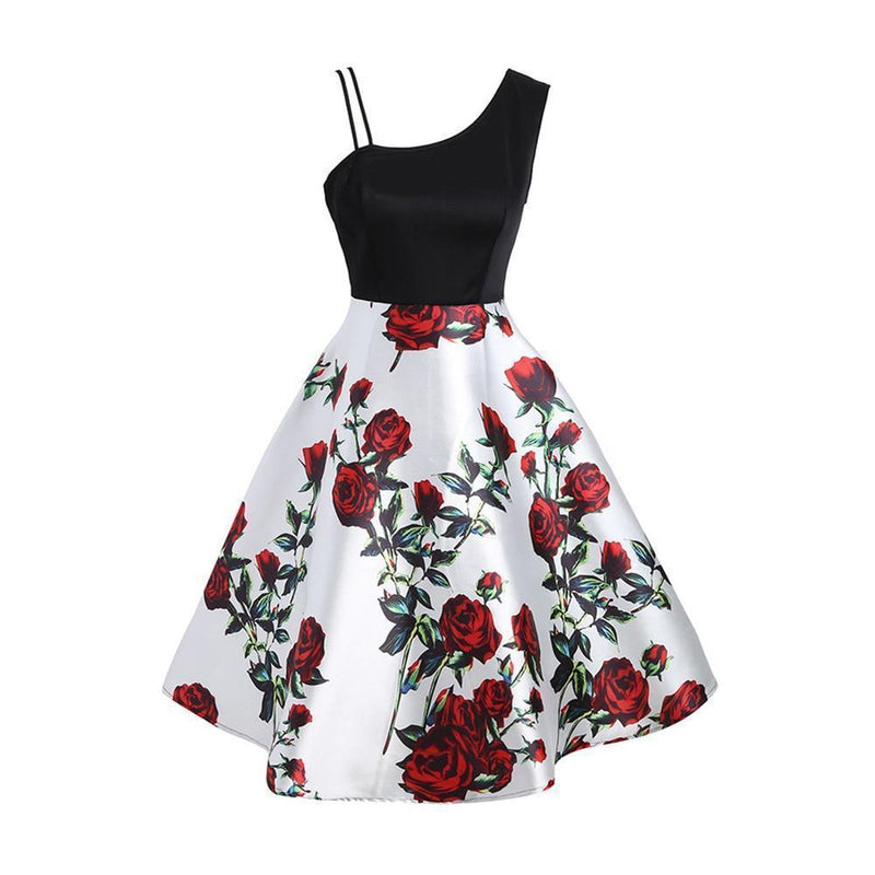 Floral Print Bare Shoulder Gothic Dress-White-S-