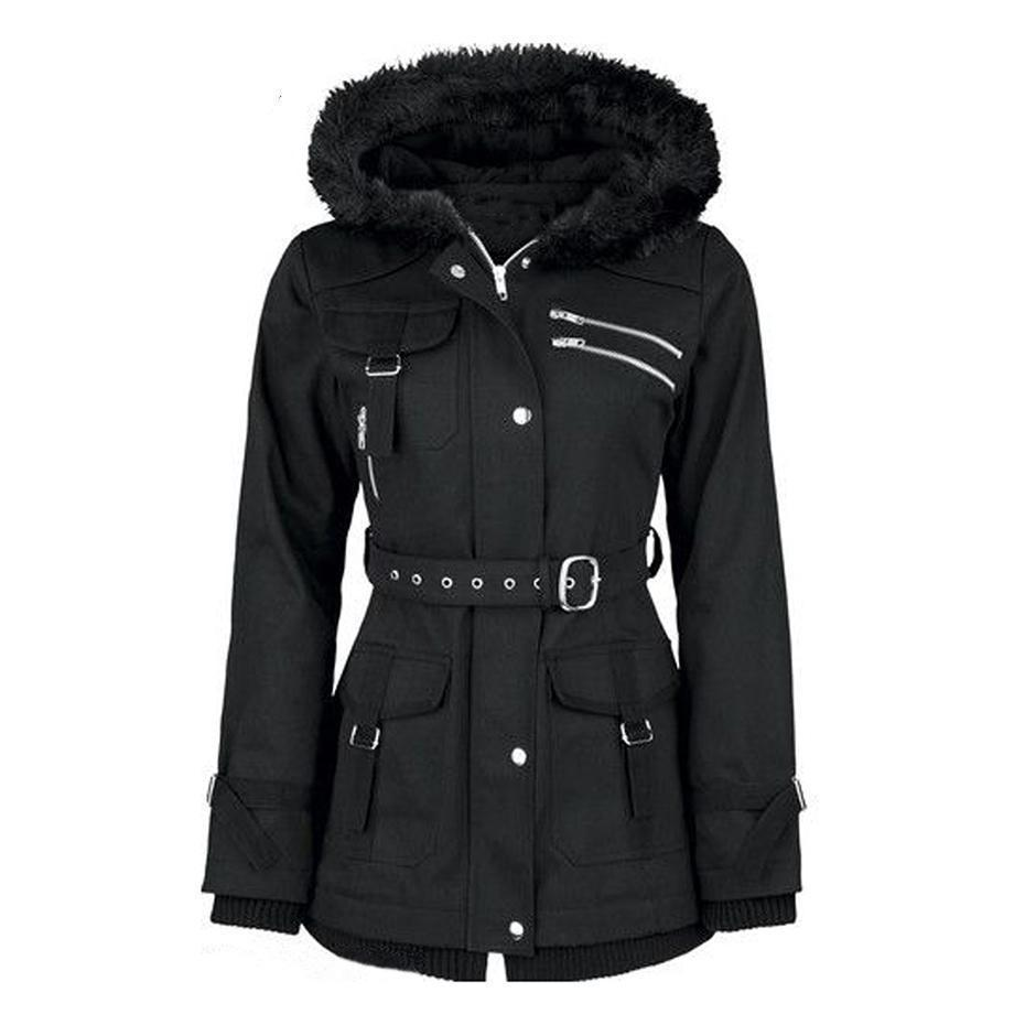Fluffy Black Gothic Zipper Coat-Black-M-