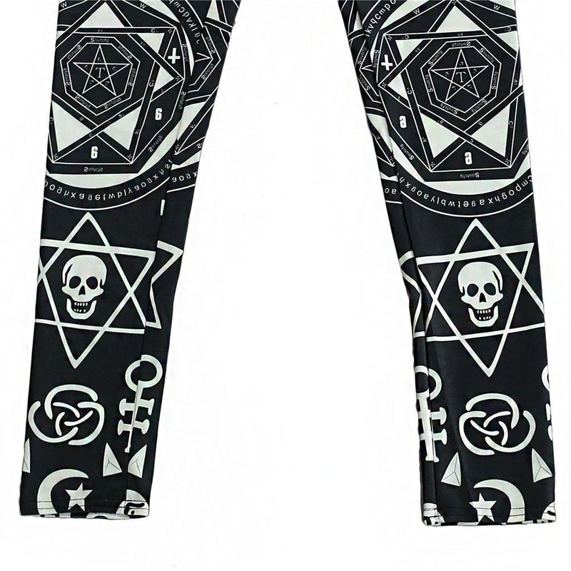 Geometric Gothic Symbol Print Leggings - The Black Ravens