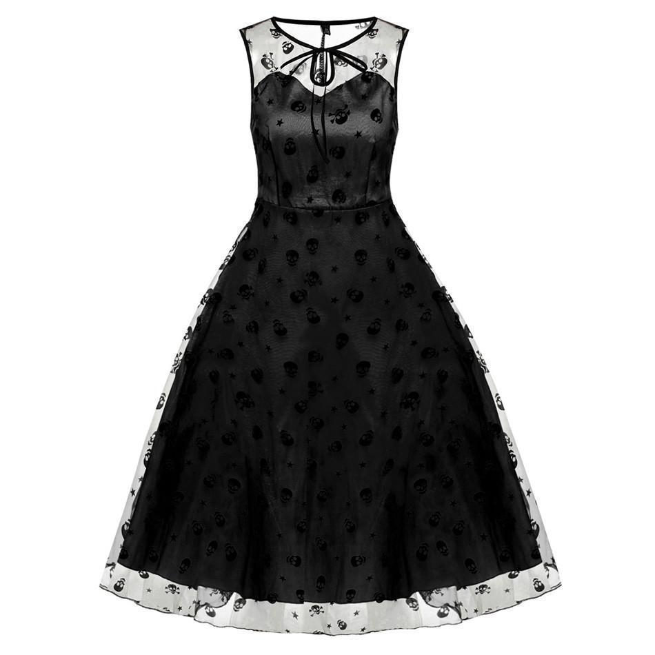 Girl's Adorable Skeleton Head Flowery Dresses - The Black Ravens
