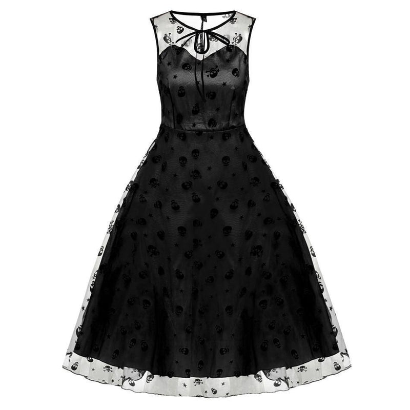 Girl's Adorable Skeleton Head Flowery Dresses-Black-L-