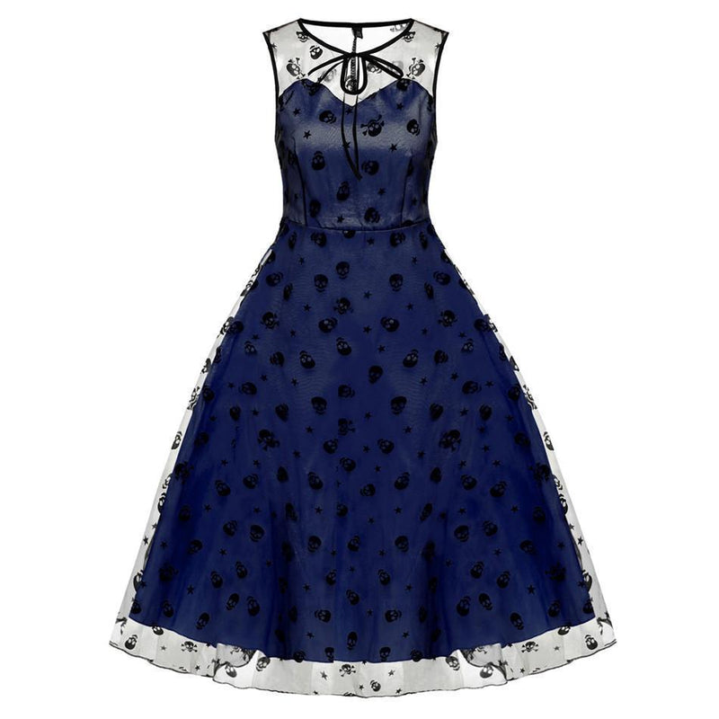 Girl's Adorable Skeleton Head Flowery Dresses-Blue-L-