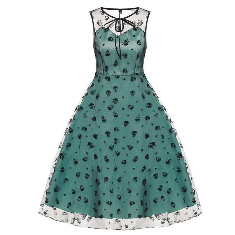 Girl's Adorable Skeleton Head Flowery Dresses-Light Green-L-
