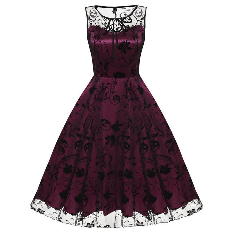 Girl's Adorable Skeleton Head Flowery Dresses-Red-L-