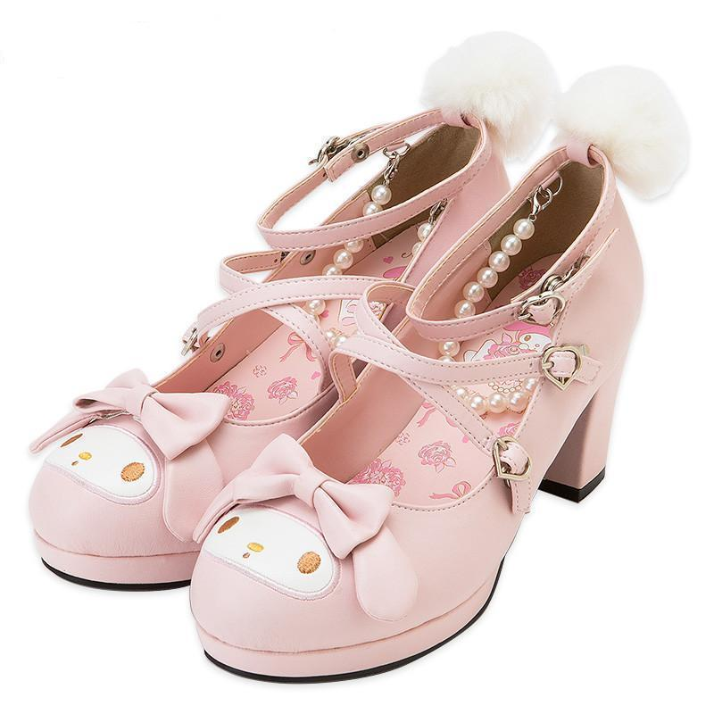 Girls Cute Bunny Rabbit Bow Lolita Shoes-7Cm Heel-5-