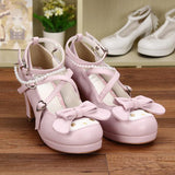 Girls Cute Bunny Rabbit Bow Lolita Shoes-Pink 7cm-5-