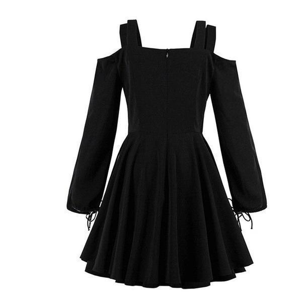 Girls' Gothic Lace-Up Street Style Dress-S-