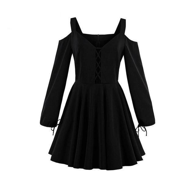 885c148b4a Girls  Gothic Lace-Up Street Style Dress-S-