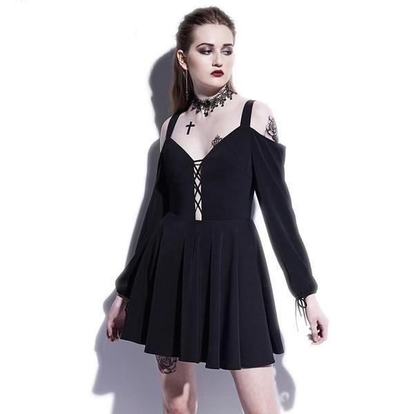 Gothic Crescent Moon Japanese Style Dress