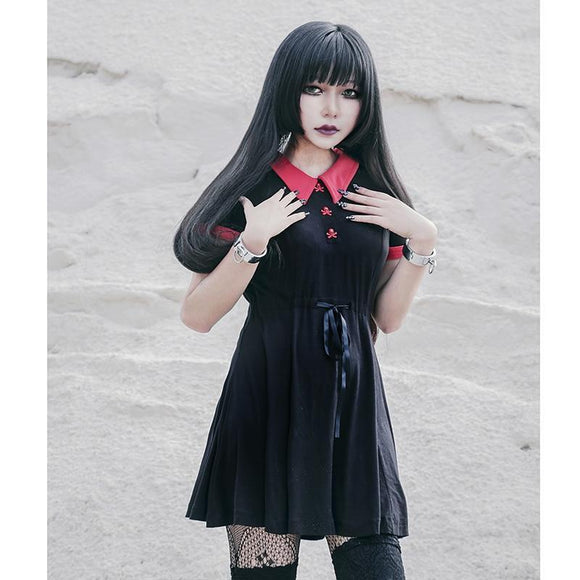 Girl's Gothic Red Collar Bow Dress-L-