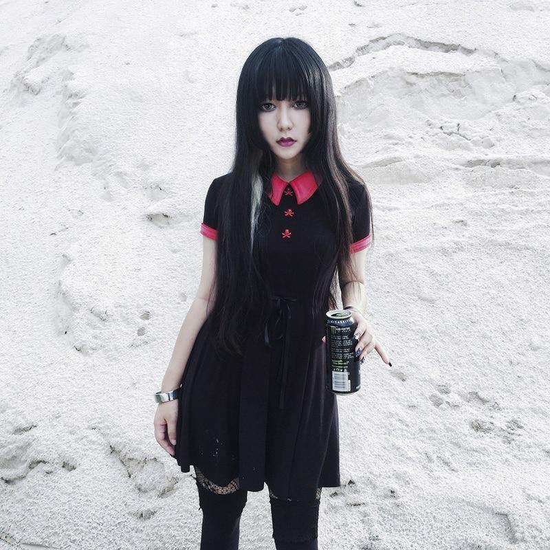 Girl's Gothic Red Collar Bow Dress - The Black Ravens