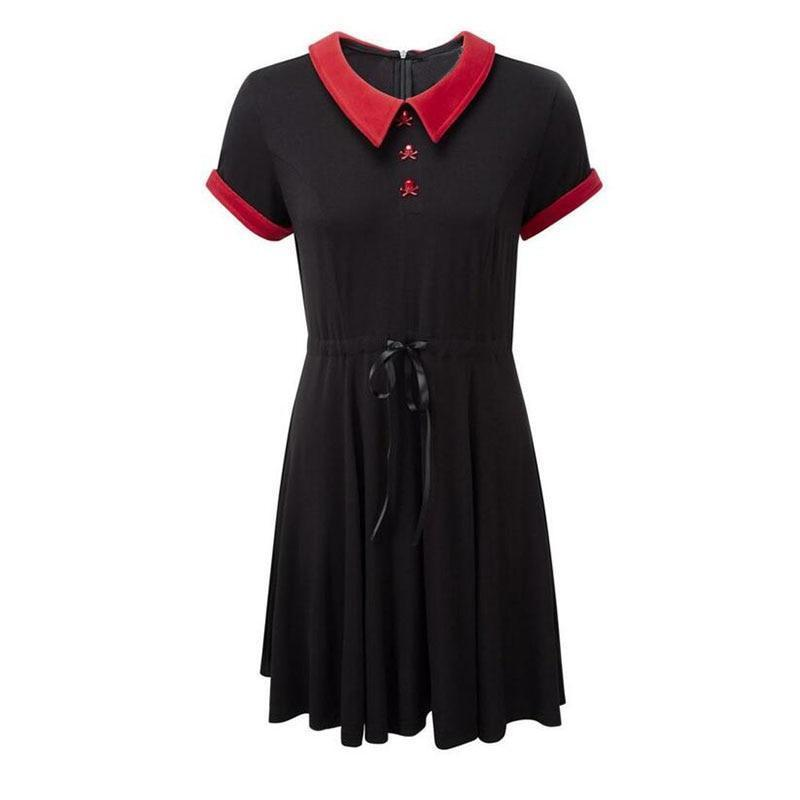 Girl's Gothic Red Collar Bow Dress-S-