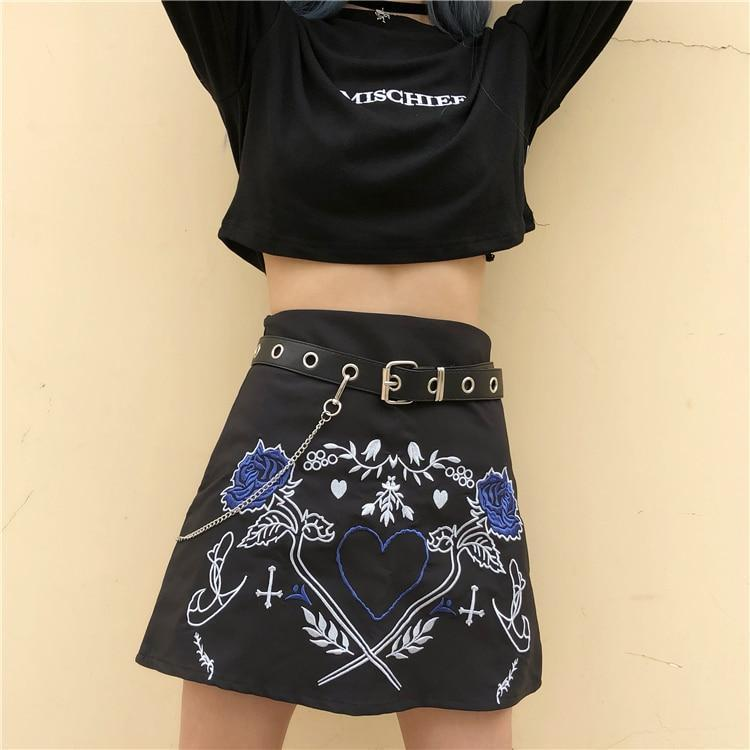 Girl's Leather Punk Embroidered Skirt - The Black Ravens