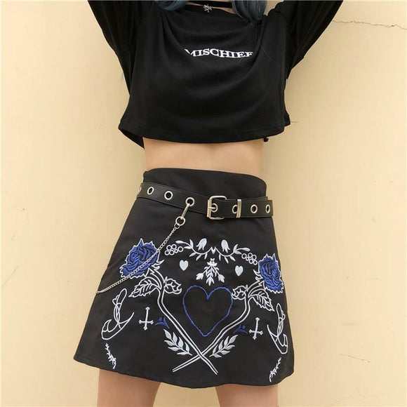 Girl's Leather Punk Embroidered Skirt-Black Skirt-M-