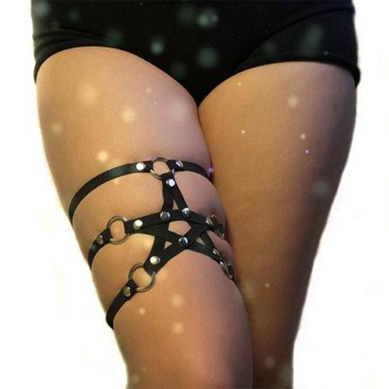 Girl's Pentagram Punk Thigh Garter Belt-
