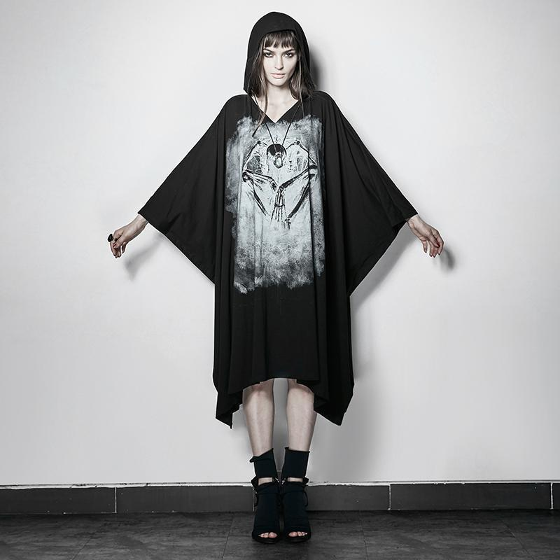 Girls' Punk Skeleton Ghost Shirt Cape-