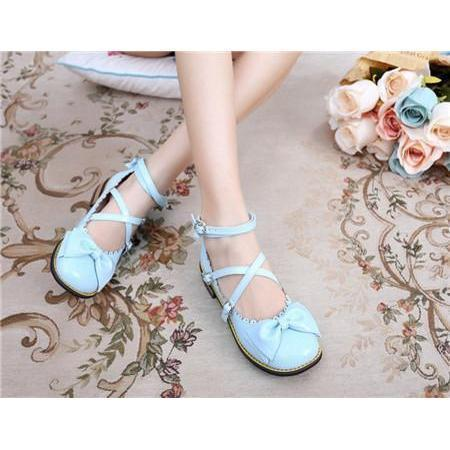 Girls Sweet Bowtie Chunky Heels Lolita Shoes-Blue-6-